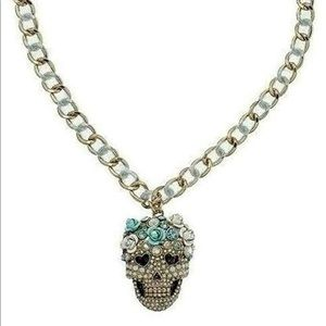 Betsey Johnson Sugar Skull w/ Roses Ribbon Necklac